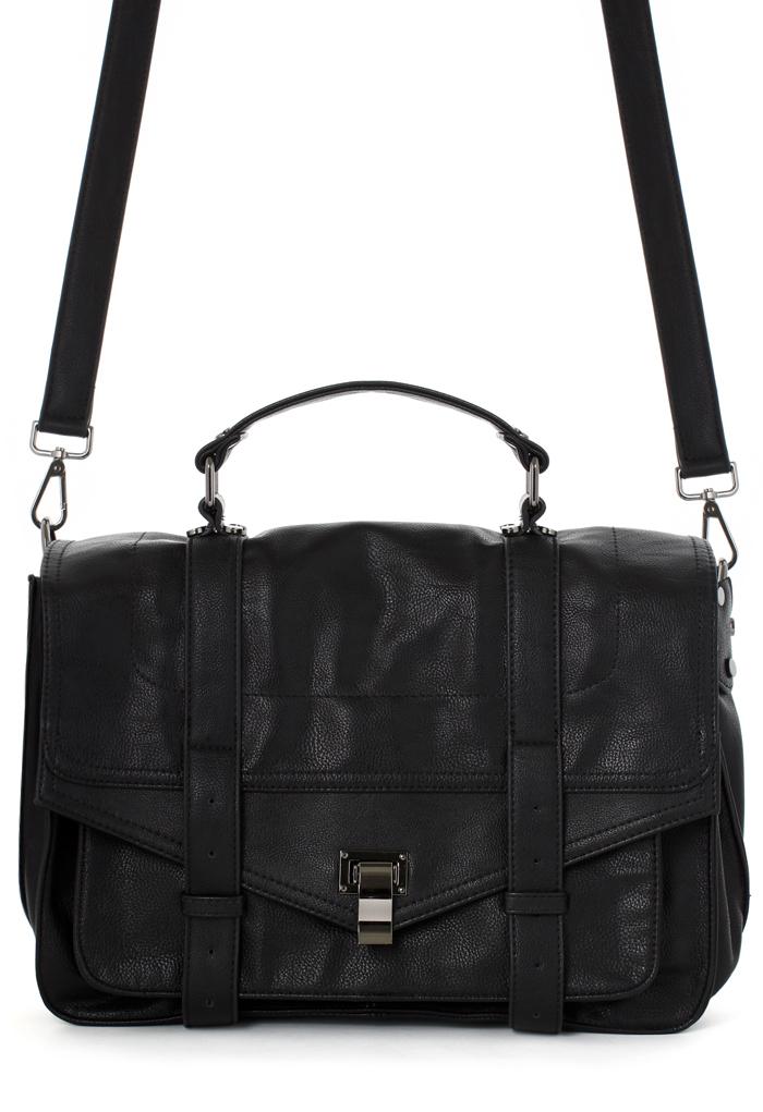 Black Faux Leather Satchel