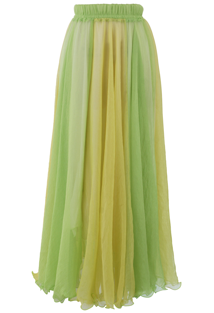 Fluid Maxi Skirt in Light Green