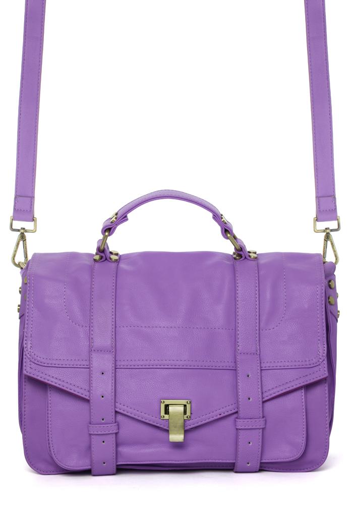 Purple Faux Leather Satchel