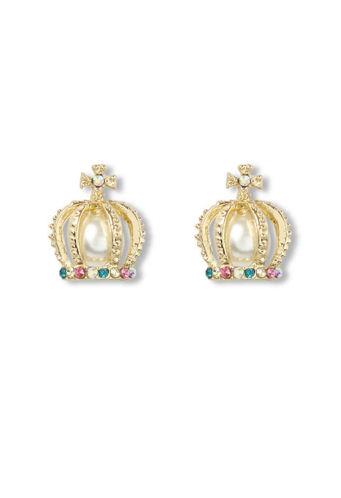 Pearly Embedded Rome Crown Earrings