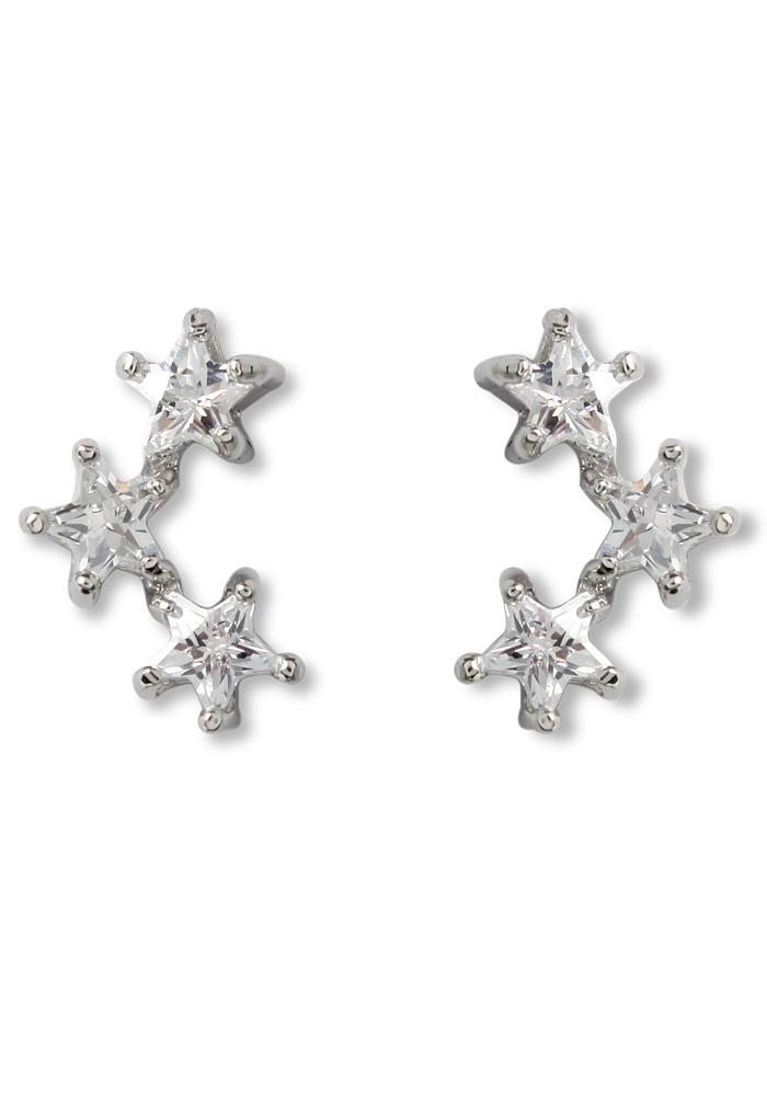 Triplet Crystal Star Earrings