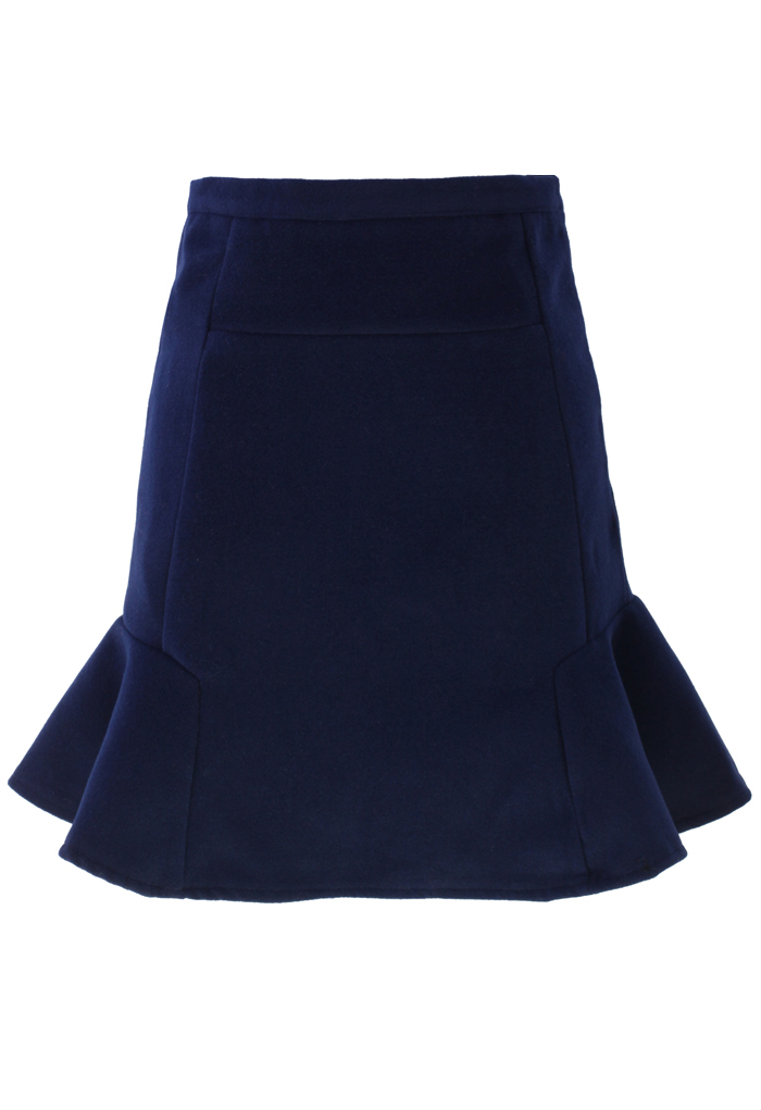 Navy Frill Hem Wool Felt Skirt
