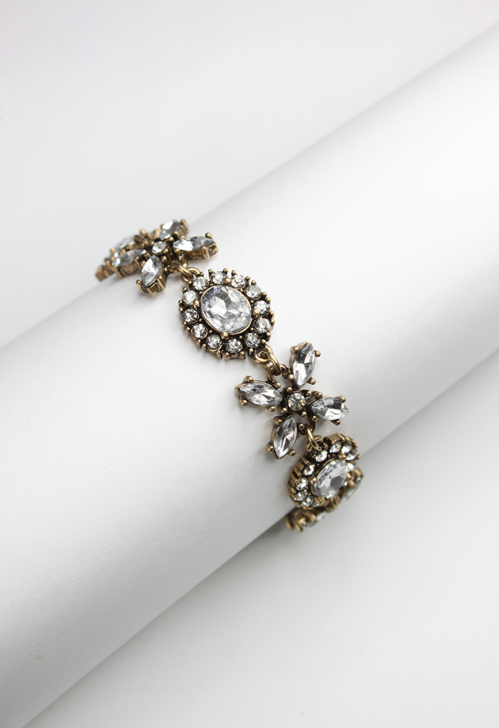 Classic Interval Hooked Crystal Bracelet