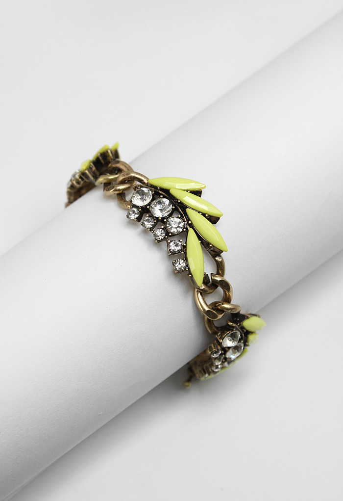 Neon Yellow Chunky Leaves Bracelet