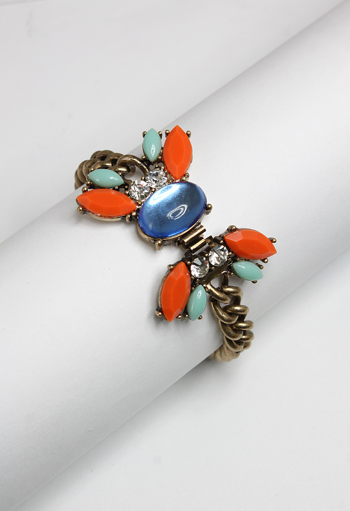 Neon Jewel Chunky Chain Bracelet