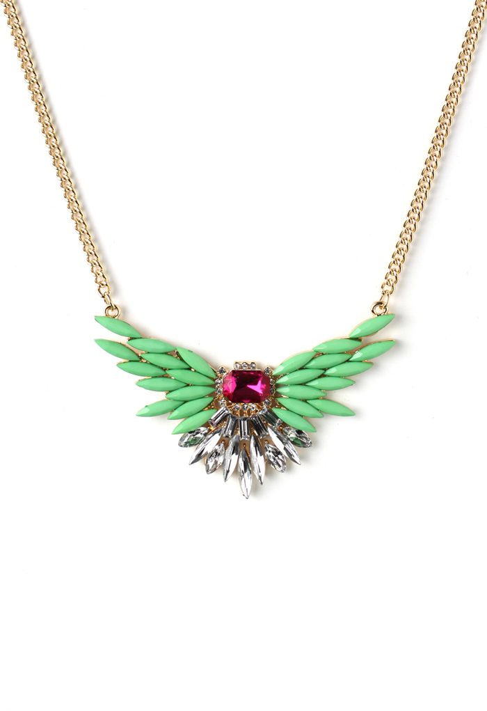 Neon Green Spread Wings Necklace