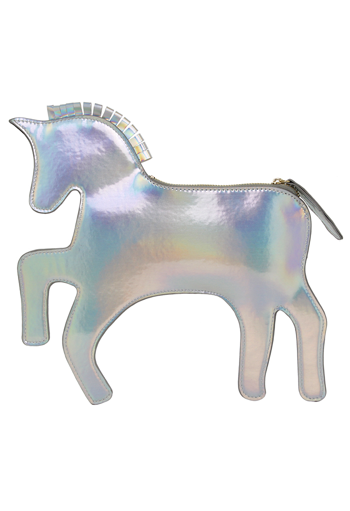 Silver Jumping Horse Shoulder Bag