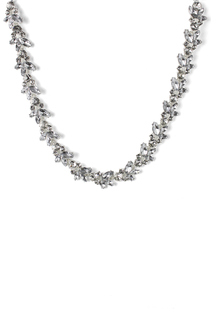 Silvery Plated Crystal Necklace