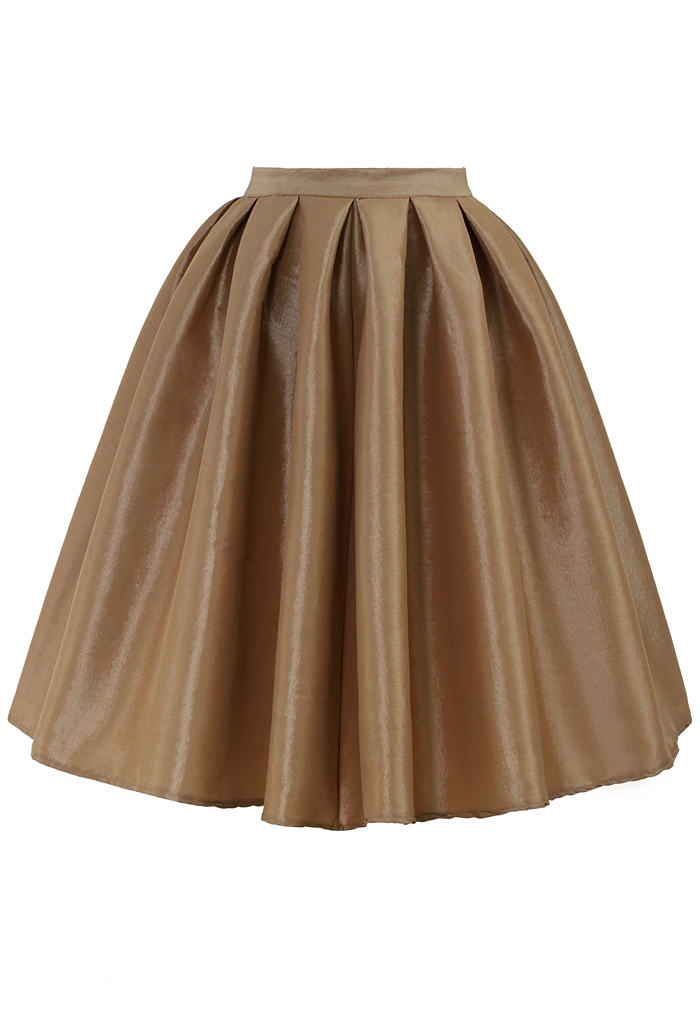 Champagne A-line Midi Skirt