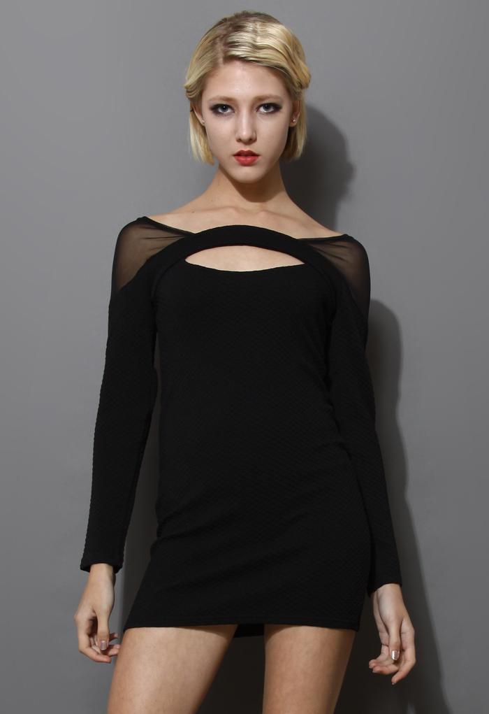 Black Mesh-Paneled Body-con Dress