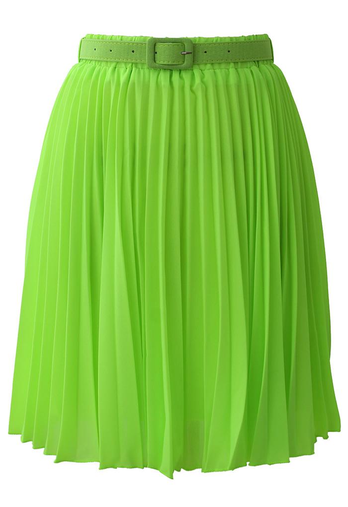 Neon Green Pleated Chiffon Midi Skirt with Belt
