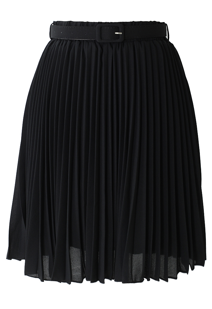 Black Pleated Chiffon Midi Skirt with Belt