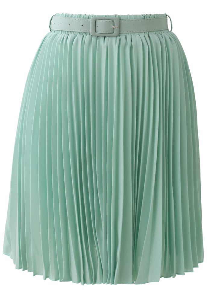 Seafoam Pleated Chiffon Midi Skirt with Belt