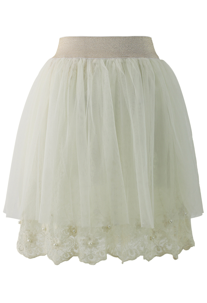 Sweet Pearly Tulle Skirt in Beige