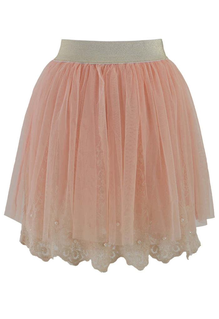 Sweet Pearly Tulle Skirt in Pink