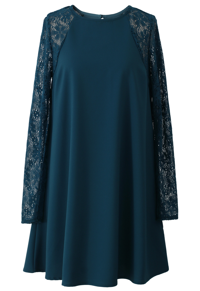 Relaxed Lace and Crepe Panel Dress in Turquoise