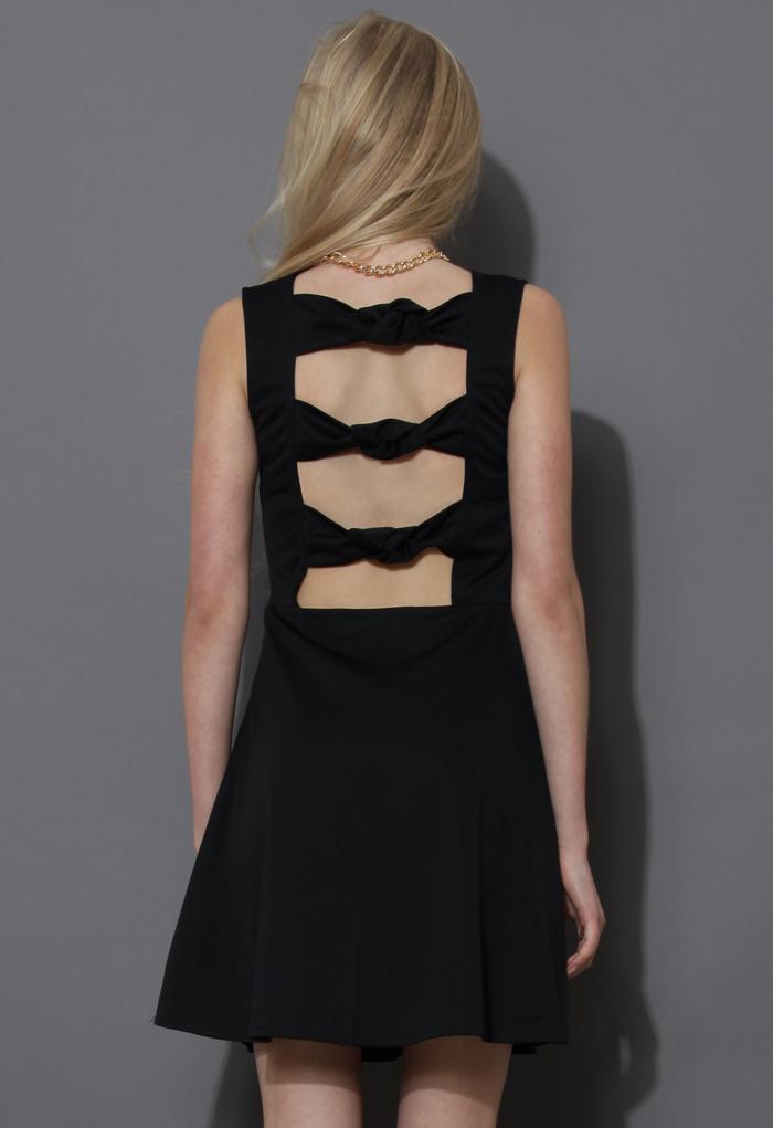 Triple Knots Sleeveless Black Skater Dress