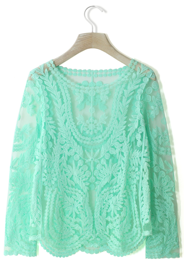 Delicacy Crochet Top in Mint Green