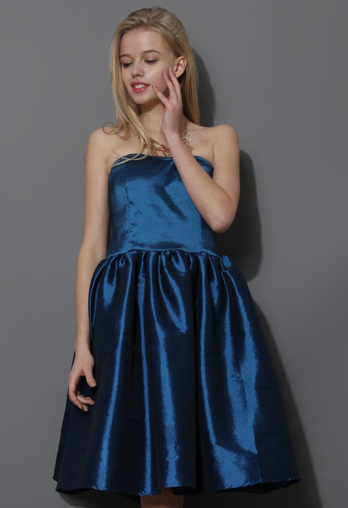 Bustier Strapless Dress in Blue