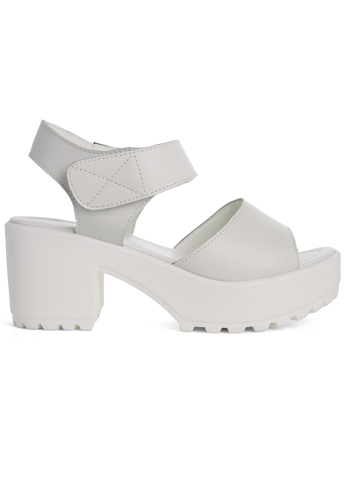Block-Heel Leather Sandals in White