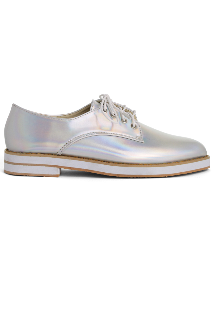 Silver Holographic Brogue Flat Shoes