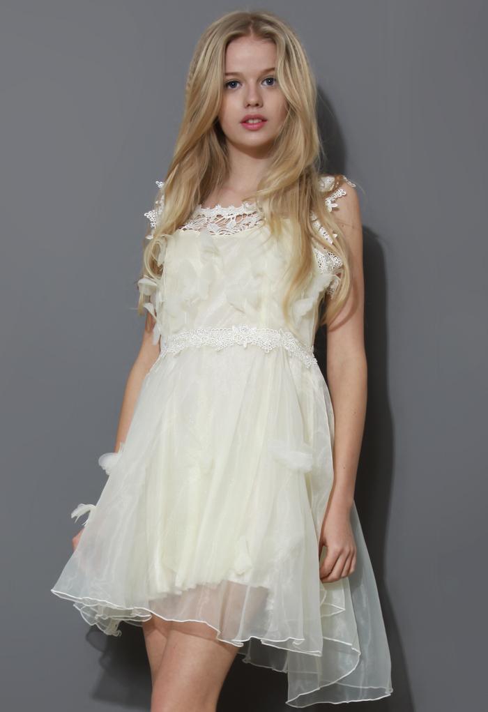Moonlight 3D Butterfly Sleeveless Organza Dress