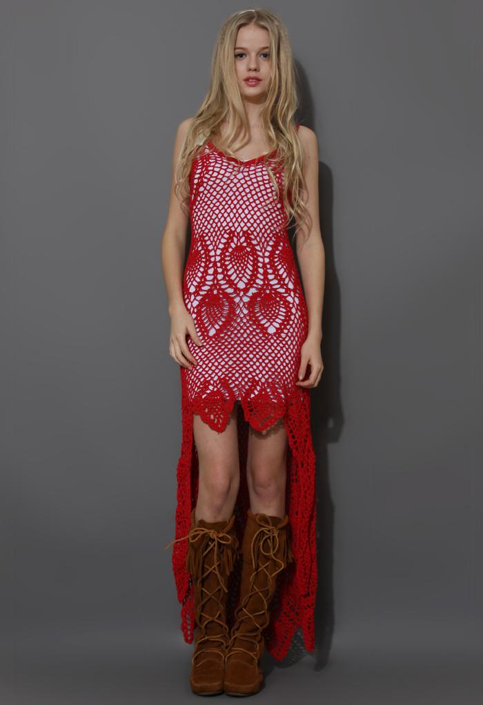 Santorini Hand-knit Crochet Dress in Red