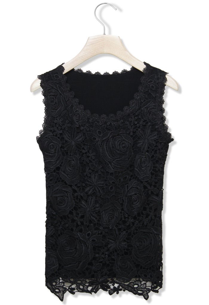 Lace Crochet Front Tank Top in Black