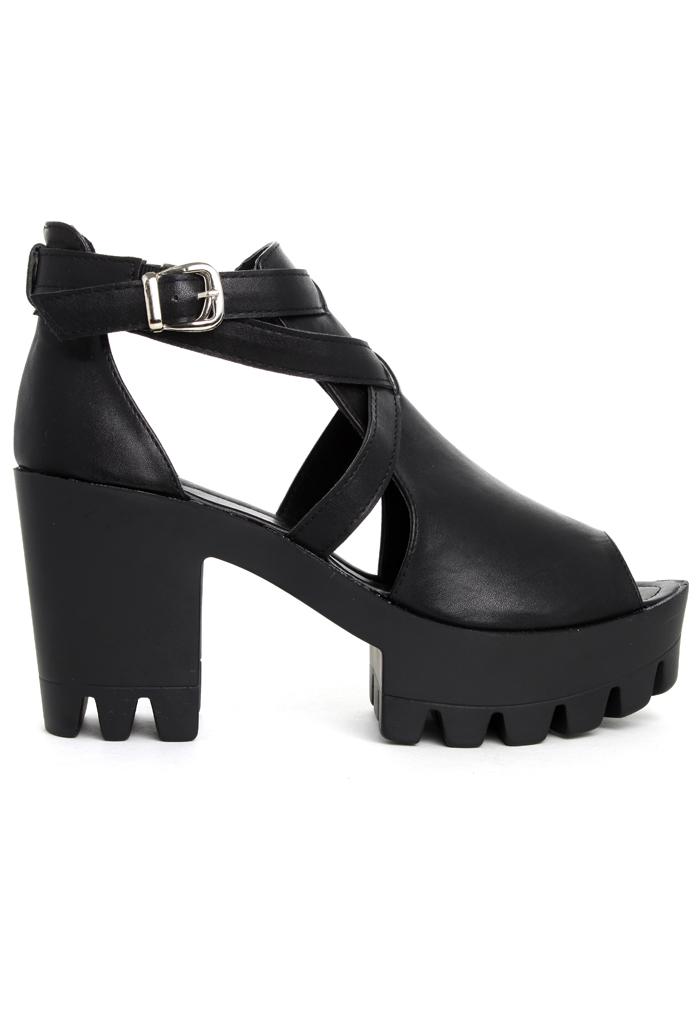 Cut Out Peep Toe Platform Sandals