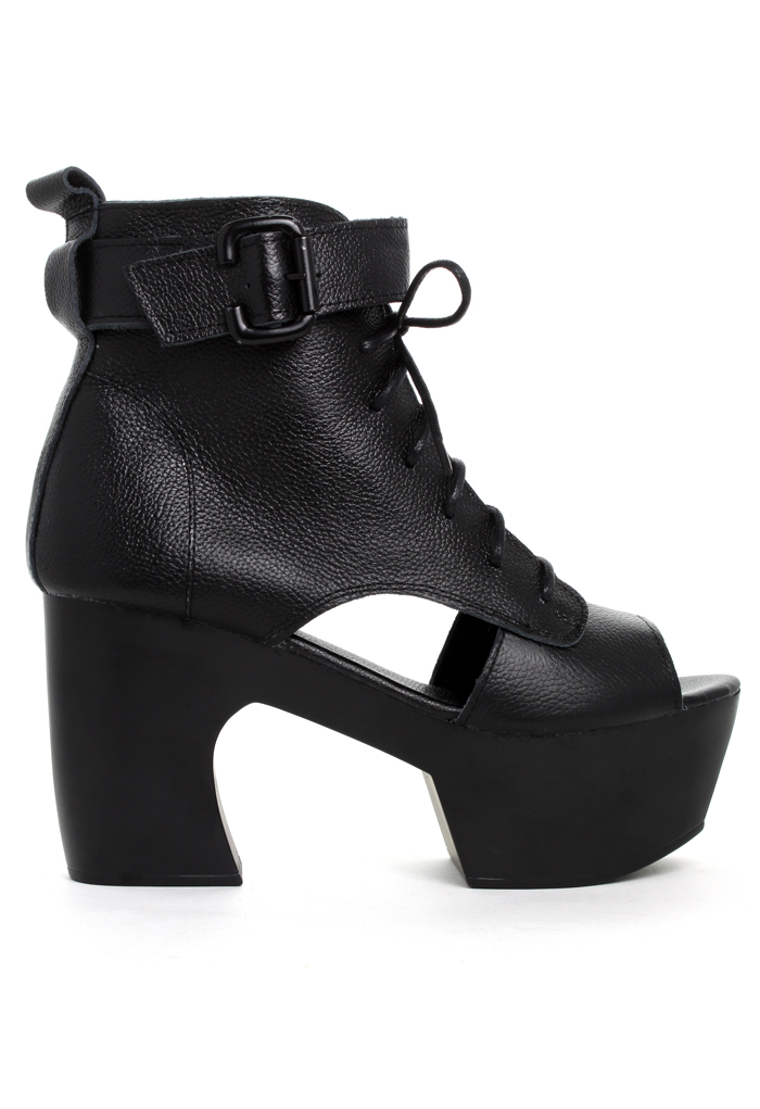 Buckle Cut Out Peep Toe Boots in Black