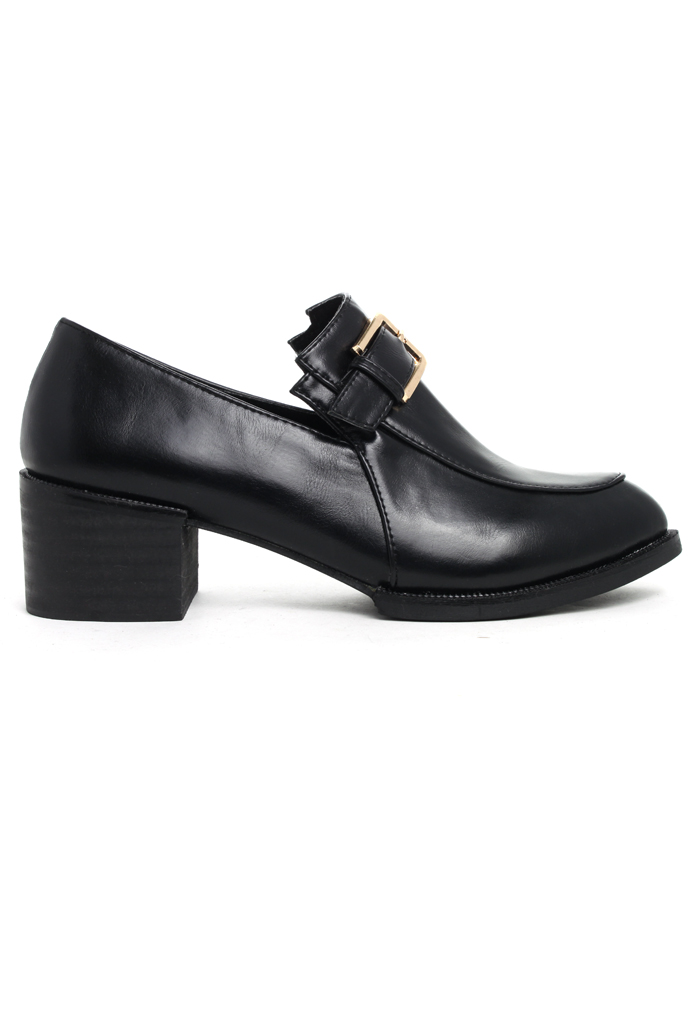 Buckle Decor Pointed Loafer Shoes