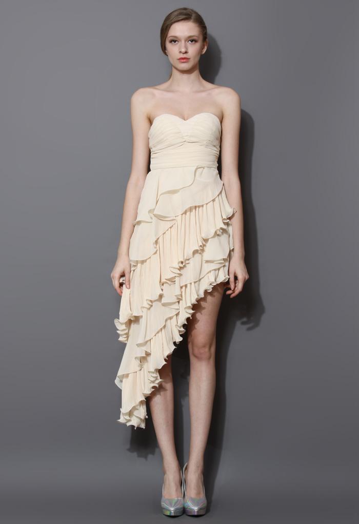 Asymmetric Tiered Ruffle Bustier Dress in Beige