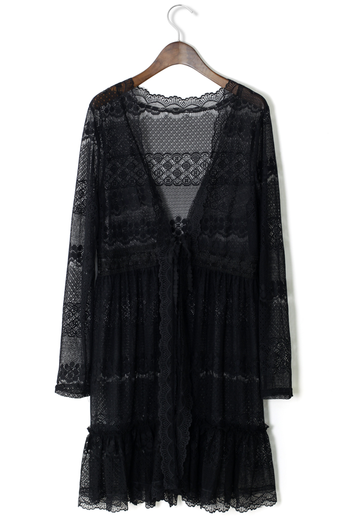 Full Lace Cardigan in  Black