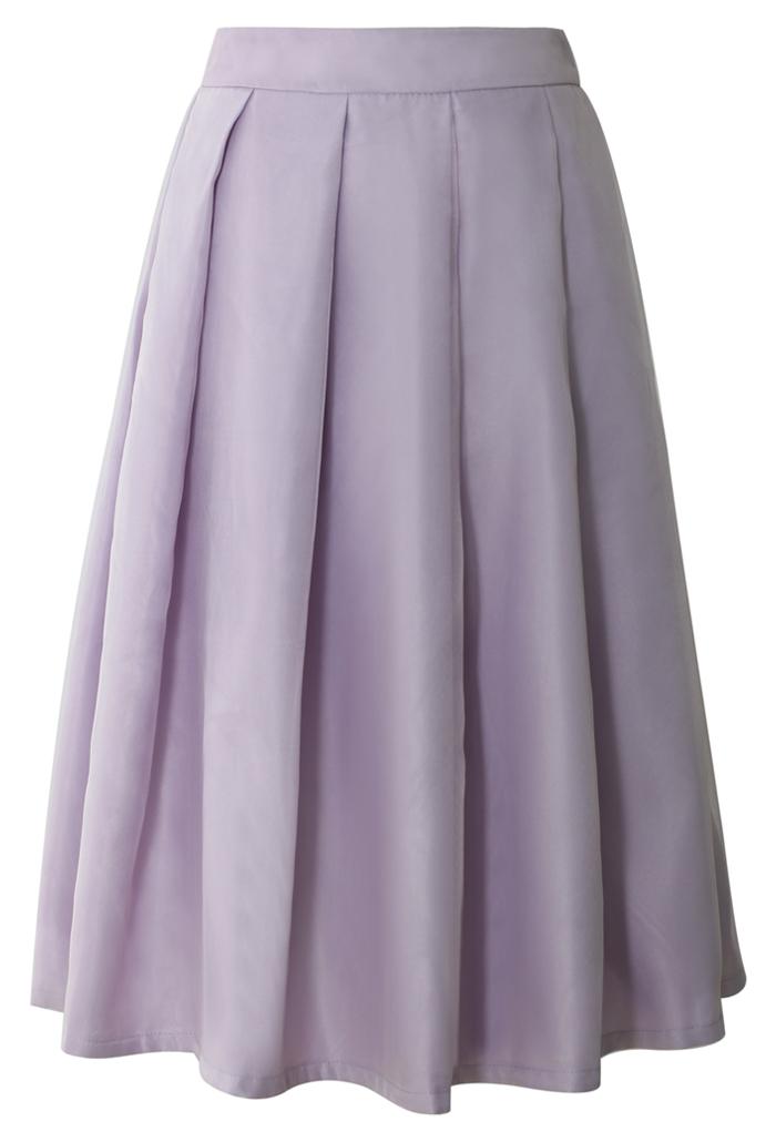 Tender Love Pleated A-line Full Skirt in Purple
