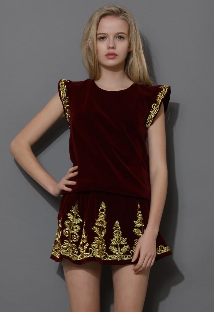 Golden Embroidery Velvet Top and Skirt Set in Wine