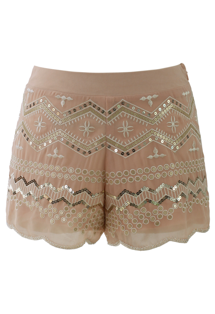 Sequins Embellished Shorts in Peach