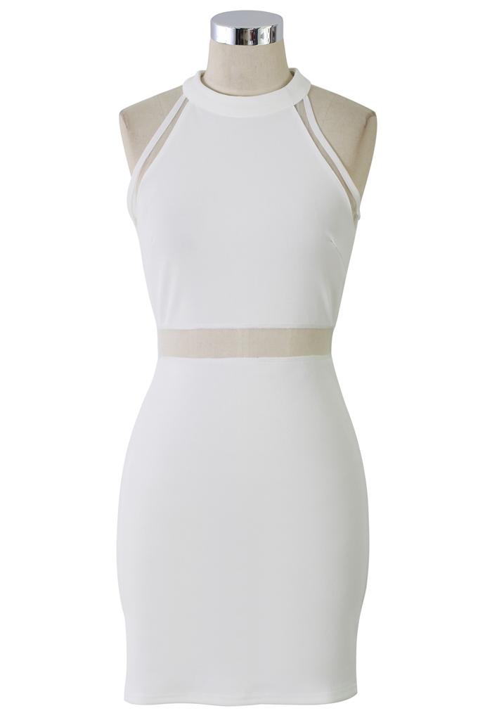 Mesh Insert White Body-Con Dress