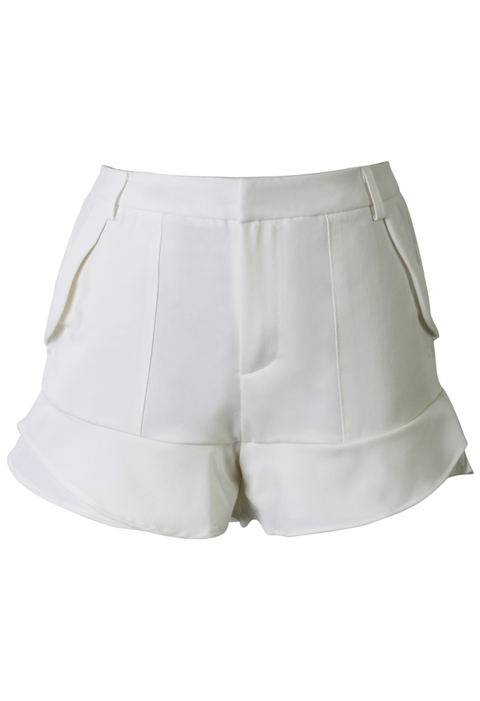 White Petite Flaring Tiered Shorts