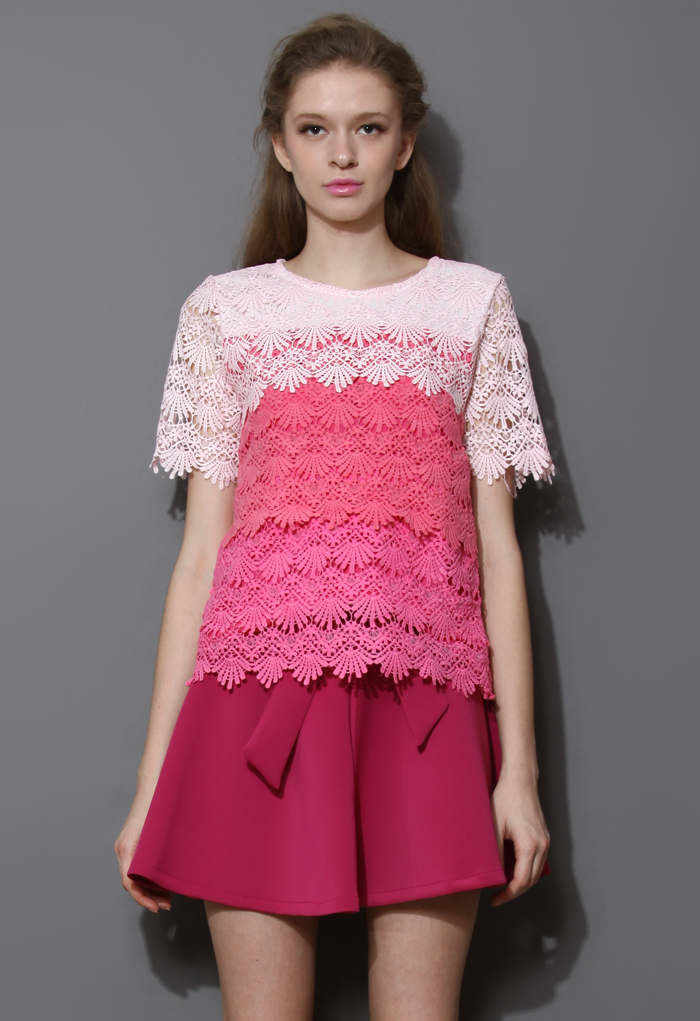 Dip Dye Tiered Crochet Top in Pink
