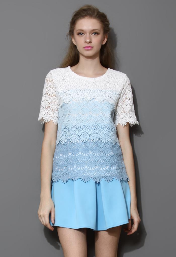 Dip Dye Tiered Crochet Top in Blue