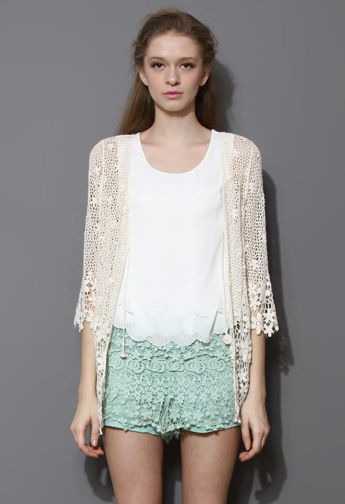 Delicate Hollowed Crochet Open Cardigan in Ivory
