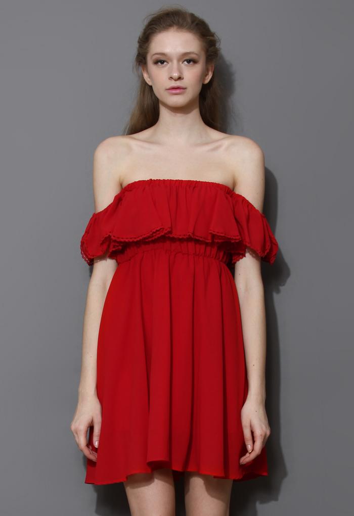 Endless Off-Shoulder Frilling Dress in Red