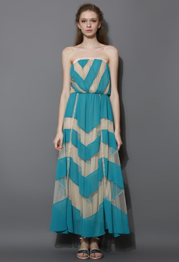 Desert Winds Strapless Maxi Dress in Blue
