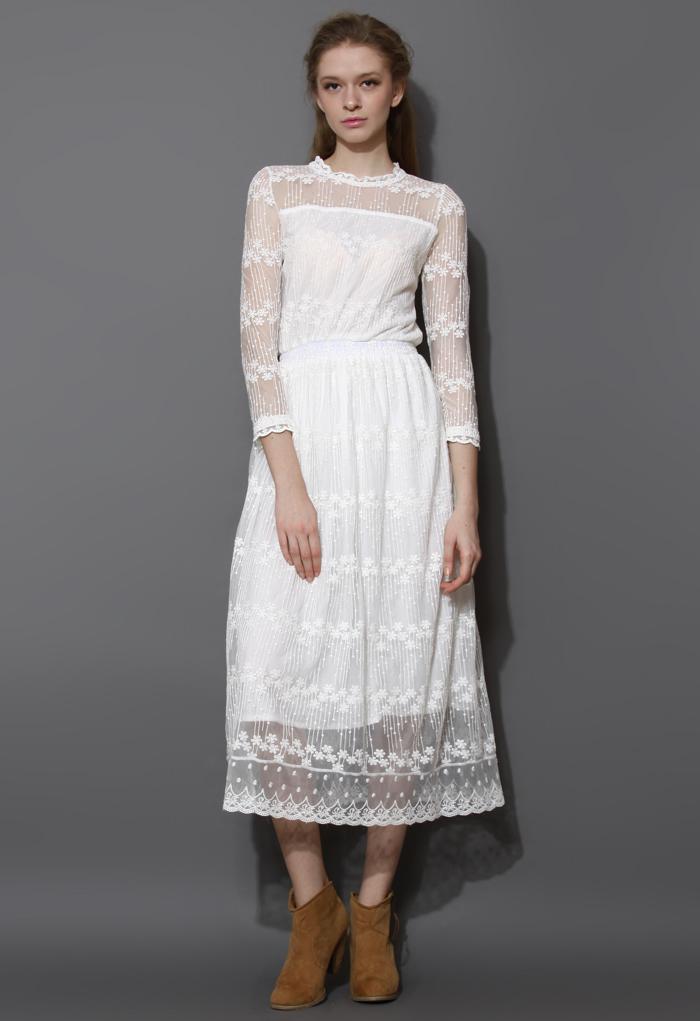 Full of Grace White Lace Mesh Maxi Dress