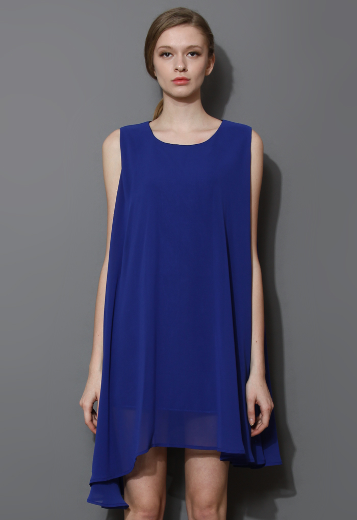 Classy Chiffon Dress in Blue