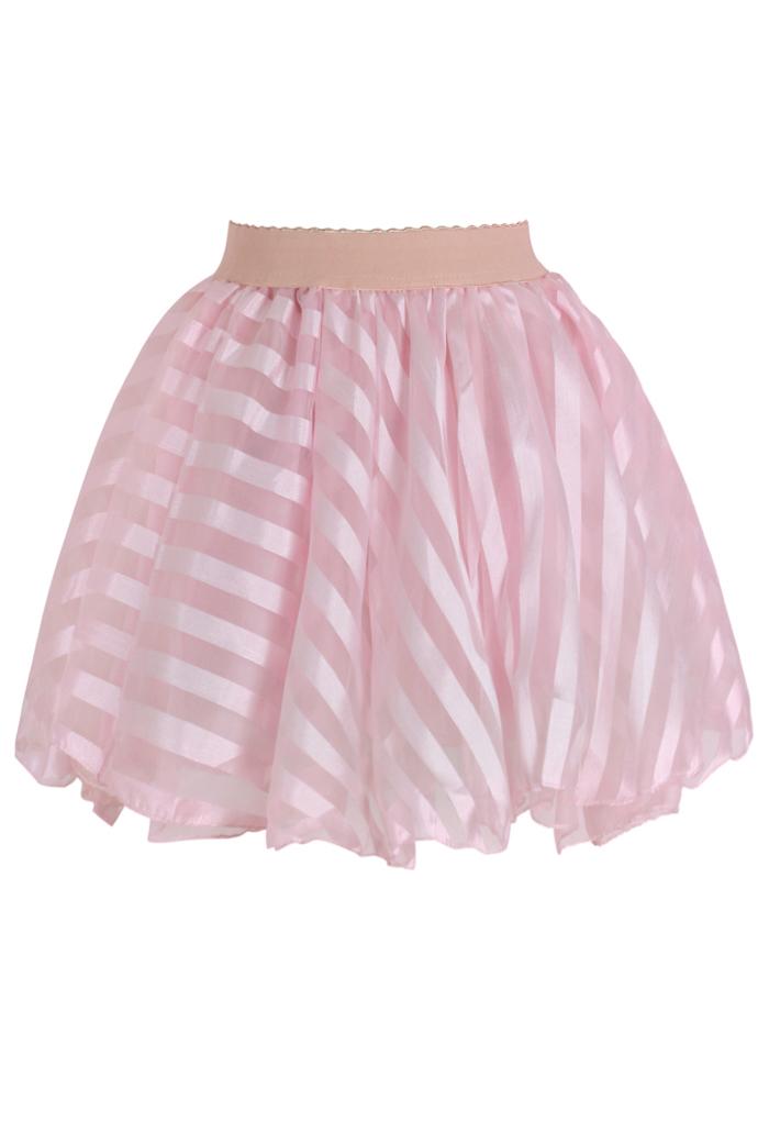 Striped Mini Organza Skirt in Pink