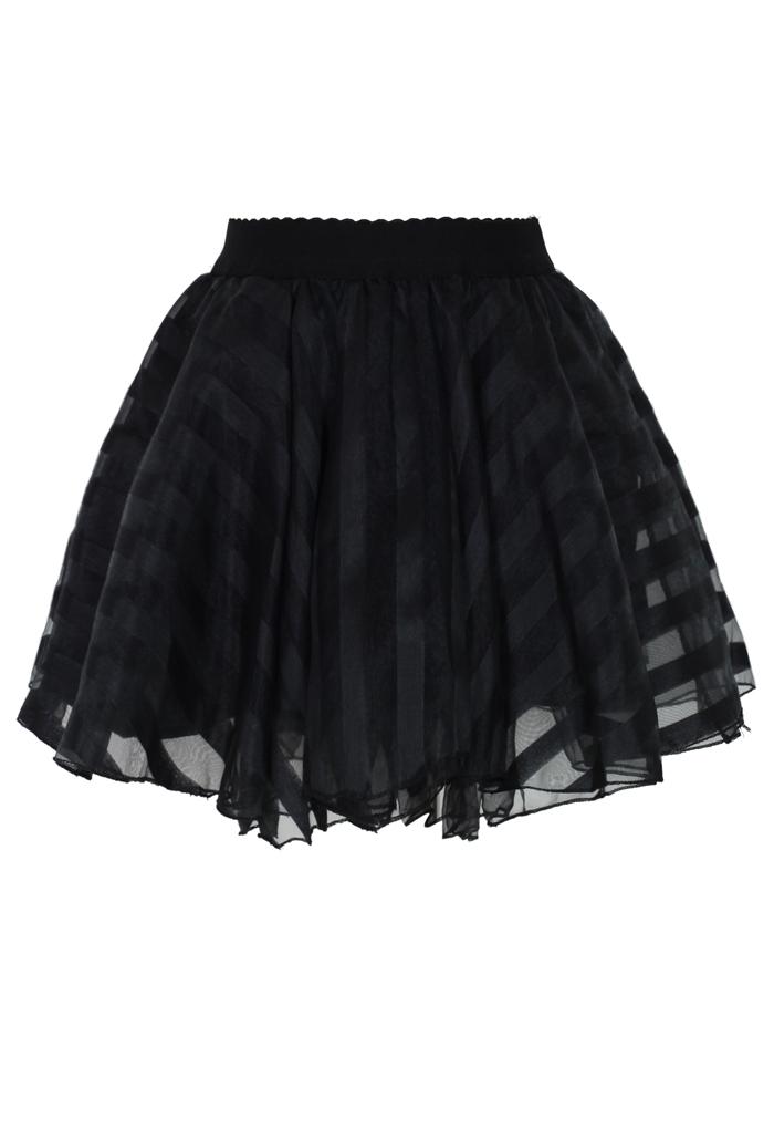 Striped Mini Organza Skirt in Black