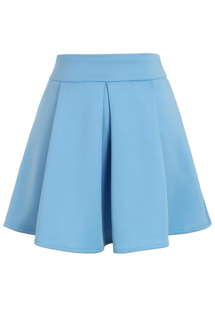 Cheering Blue Mini Skater Skirt