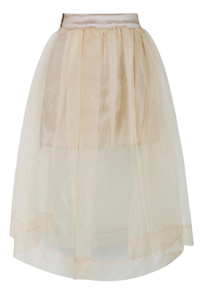 Sheer Beige Organza A-Line Midi Skirt
