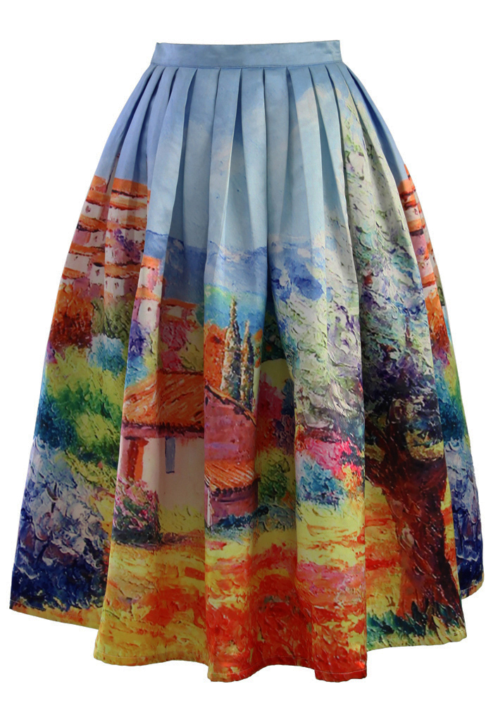 Turn Back Time Scenic Print Midi Skirt